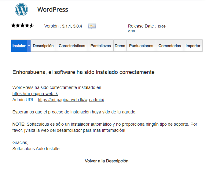 instalacion wordpress satisfactoria
